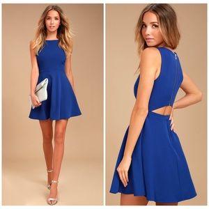 Lulu's • just us royal blue skater dress